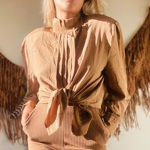 Vintage Ruffle Taupe Button Down Blouse